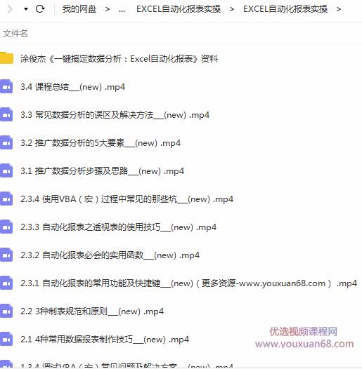 涂俊杰 Excel自动化报表实操课目录