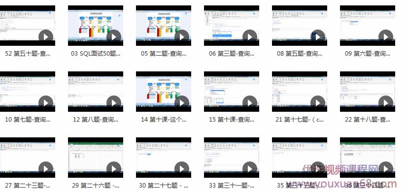 SQL面试常见50题精讲视频课程– 跟我一起打怪升级目录