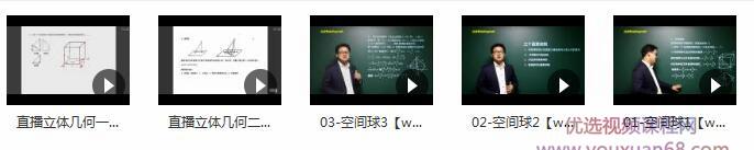 高中数学立体几何知识点辅导教学视频目录