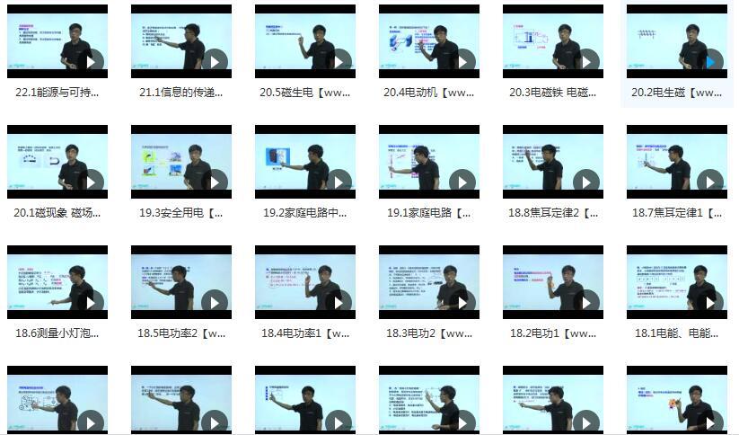 人教版初三物理课本知识点同步辅导教学视频目录