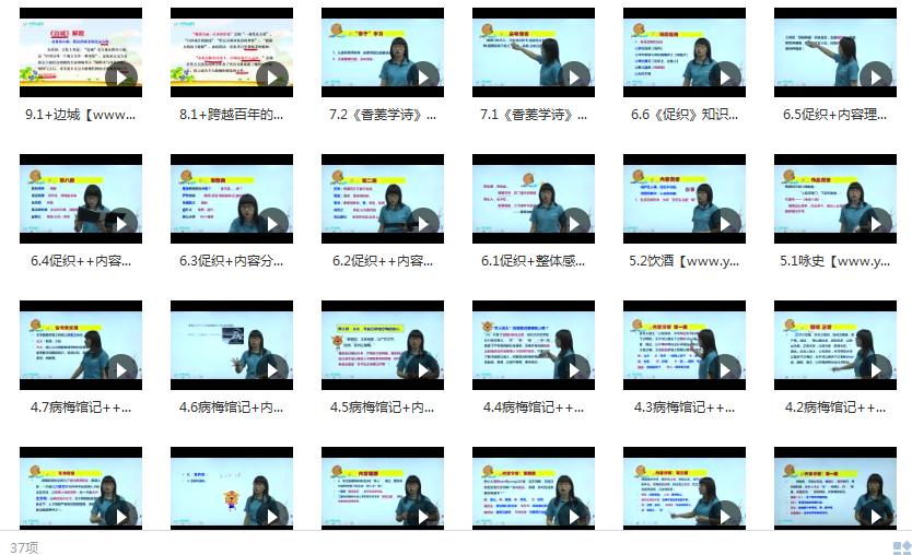 沪教版高一语文上学期课本同步辅导教学视频目录