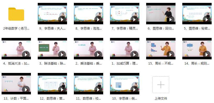 二年级数学进阶课教学视频内容目录