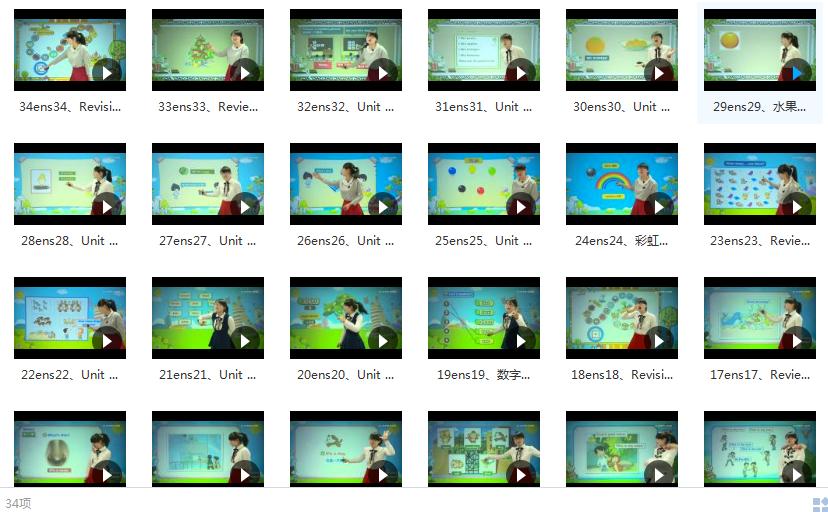 小学一年级上册英语全套讲解视频内容目录