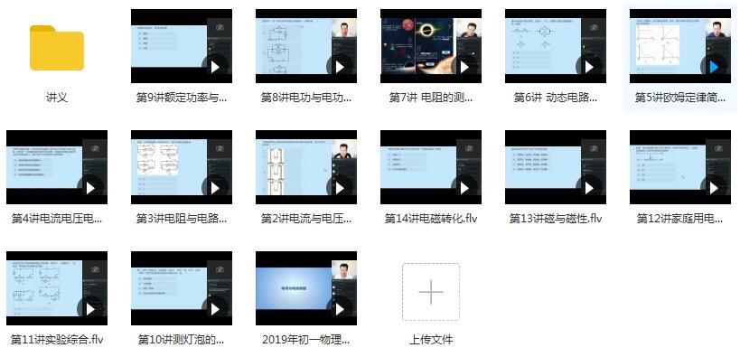 2019年春季初一(七年级)物理直播课辅导教学视频目录