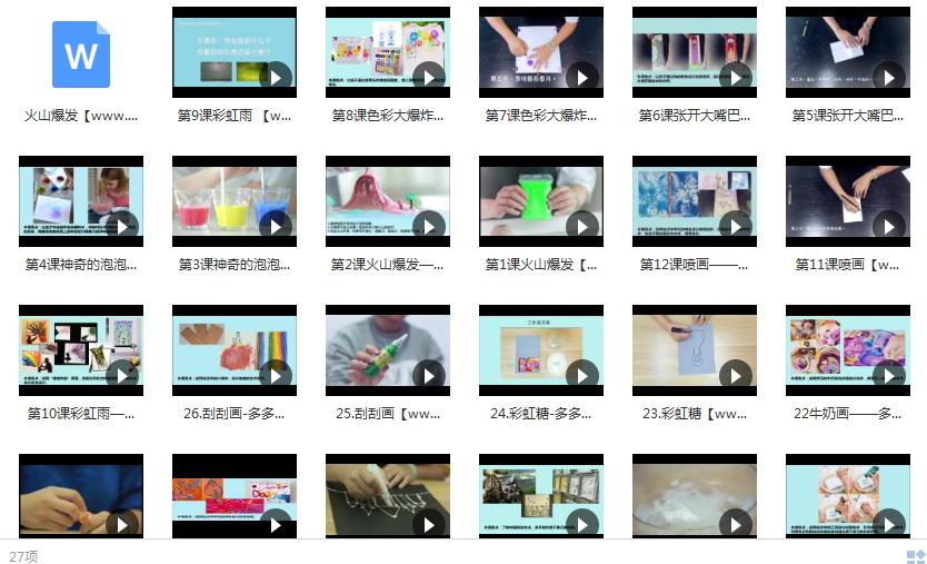 手工艺术课视频大全内容目录