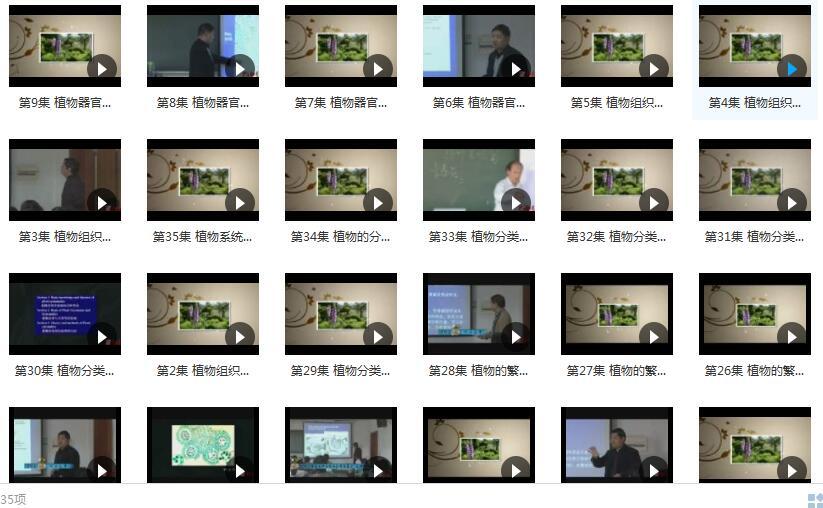 《植物学及实验》全套教学视频内容目录