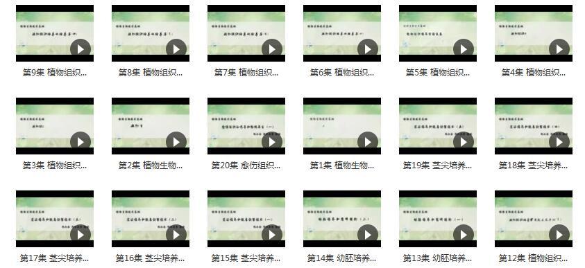《植物生物技术基础》全套教学视频内容目录