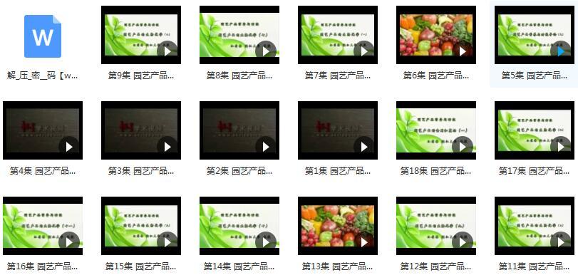 《园艺产品营养与功能》实录视频课程内容目录