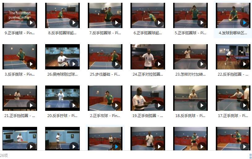 乒乓球技巧_PingSkills乒乓球教学片_乒乓球教学视频目录